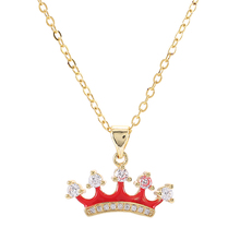 Fashion Drop Oil Crown Charm Micro Pave Zircon Red Enamel Birthday Cake Pendant Women Necklace Brass Chian Necklace Chokers DIY