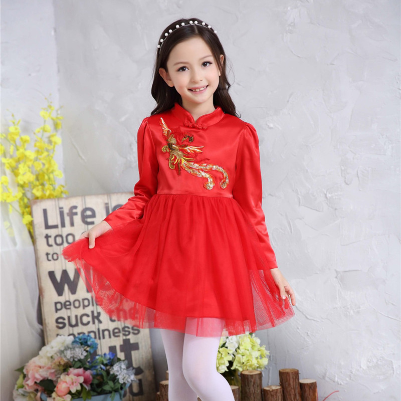 Autumn Winter Chinese Style Kids Dresses for Girls Red Cheongsam Embroidery Phoenix Elegant Dresses Traditional Chinese Garments<br>