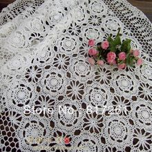 Free shipping lace crochet table cloth fashion flower rustic cotton lace curtain white table cloth table cover for wedding