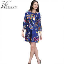 Multicolor European 2017 dresses Spring fashion women's clothing brand in Europe and the United States printing mini 049-7