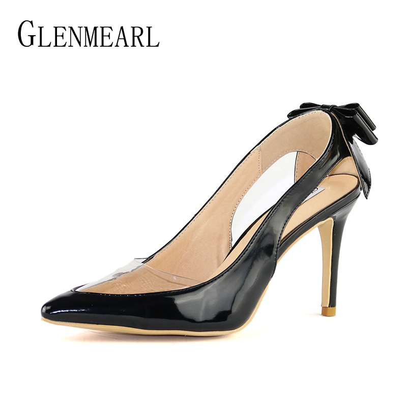 Plus Size Shoes Woman High Heels Women Pumps Bowtie Transparent Sexy Pointed Toe Thin Heel Black Single Party Pumps Female DO<br>