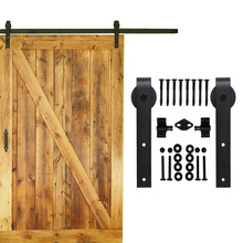 5-16 FT single sliding barn wood door hardware interior top mounted rustic black sliding barn door hardware(China)