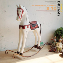 American country Retro wood craft rocking horse decoration vintage home decor wedding gift Home Furnishing jewelry ornaments.(China)