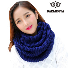 [DARIAROVA] New Autumn Winter Cotton Scarf Warm Ring Scarves for Women Knitted Neck Scarf LIC Tube Scarf Ring Men Unisex Tippet