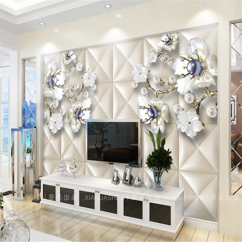 White flower pearl 3D soft bag Background 3D Wall Paper Mural Rolls Photo Wallpaper for Wall 3 d Hotel Livingroom Bedroom Decor<br><br>Aliexpress