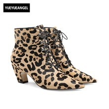 European Women Leopard Ankle Boots Personality Heels Pointed Toe Night Club Footwear Lace Up 2018 Party Horse Hair Ladies Shoes(China)