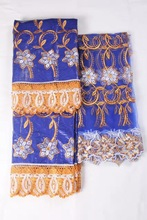 Getzner Brocade Buzin Riche Latest Beaded African Women bazin Lace Fabrics With Match Cotton Headtie Aso oke MJKY2772d(China)
