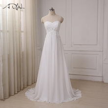 ADLN 2017 Cheap Wedding Dress Sweetheart Empire Chiffon Beach Bridal Gowns Beaded Applique Pregnant Bride Dress Plus Size(China)
