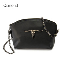 Osmond Vintage Women Messenger Bags Cow Skull Chain Vintage Leather Crossbody Small Bags Girls Satchel Shoulder Bag