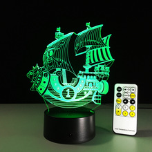 Newest Pirate Ship Touch the Light LED Christmas Gift 2016 Birthday Party One Piece Decoration Figurines Table Lamp Toys 3d Led