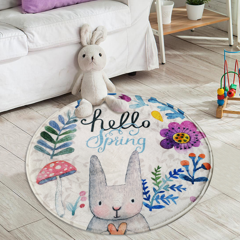 Home Supplies Coral Fleece Soft Round Cartoon Rabbit Carpet Non-Slip Water Drawing Floor Rug Chair Yoga Mat for Kids Bedroom(China (Mainland))