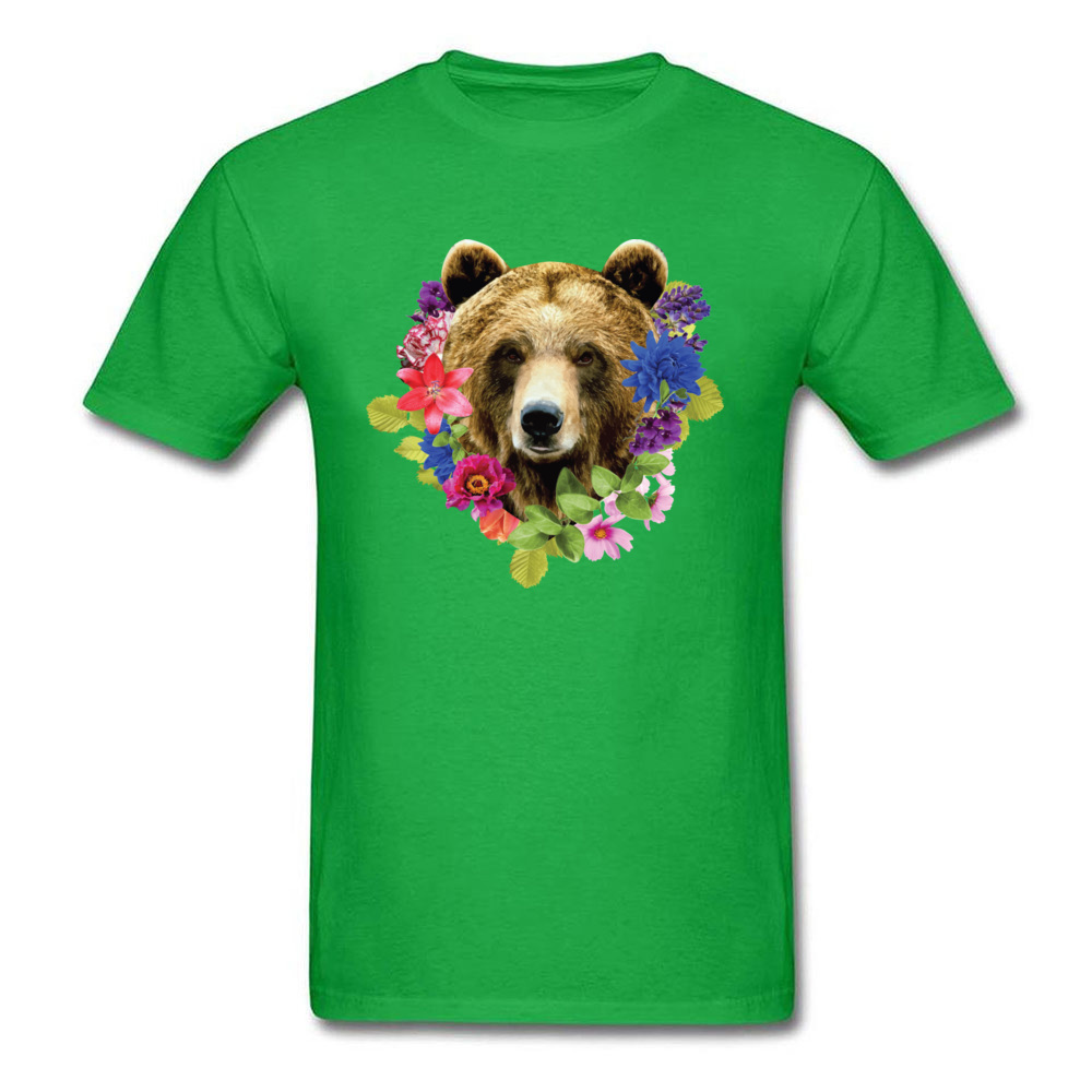 Floral Bearr Mens Fied Classic Tops T Shirt Round Collar Lovers Day Coon T-shirts Summer Short Sleeve Sweatshirts Floral Bearr green