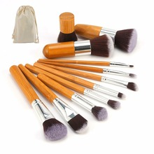 11pcs Natural Bamboo Professional Makeup Brushes Set Foundation Blending Brush Tool Cosmetic Kits Makeup Set Brusher(China)