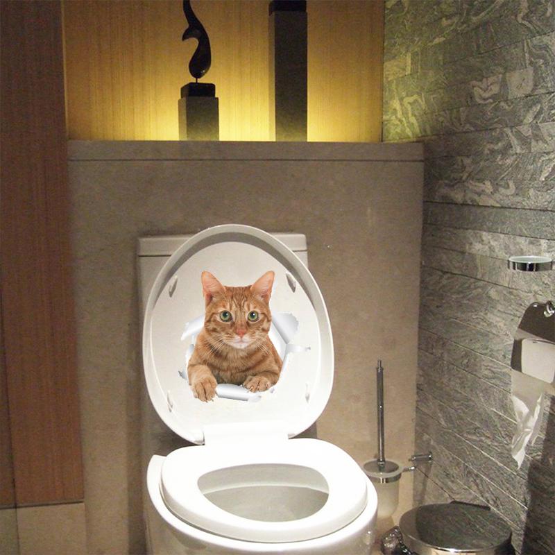 HTB1Jcfnicj B1NjSZFHq6yDWpXa7 - Funny 3d Kitten Broken Hole Sticker For Toilet-Free Shipping