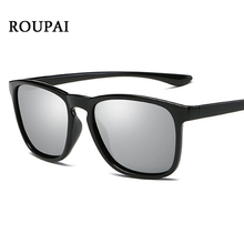 ROUPAI Man Sunglasses Brand 2017 Glass Sunglasses Men Polarized UV400 High Quality Men's Black Plastic Frame Wrap Sun Glases