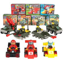 Single sale motorcycle race Minesweeping car police truck missile launcher DIY toys building blocks kids toys playmobile gifts(China)