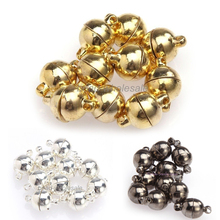 10 Sets 6 8mm Black Silver Gold Color Round Ball Magnetic Clasps Metal Connectors For Jewelry Making Diy Necklace Bracelet Parts