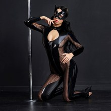 Buy Women Black PU Patent Leather Catsuit Sexy Catwoman Costume Latex Bodysuit Stretchable Masks Halloween 6518