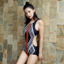 New style 2017 One Piece Swimsuit For Women stripe Push Up Bodysuit Monokini Scrunch Butt Halter Bathing Suit Maillot De Bain
