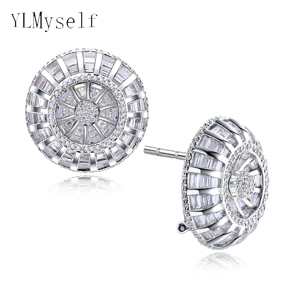 Big latest designer stud earrings with AAA CZ crystal zirconia White and gold color high quality jewelry earring for women