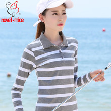novel.mice Women Polo shirt 2017 Naw Autumn Spring Striped Long sleeve Cotton Loose Casual Female Polo Shirts Plus Size 606(China)