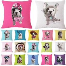 1 Pcs Bulldog Dog Pattern Cotton Linen Throw Pillow Cushion Cover Seat Car Home Sofa Bed Decorative Pillowcase funda cojin 40157