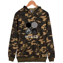 BTS Casual Camouflage Sleeve Letters Sweatshirt Women Hoodies Korean Wings Hoodies Women Winter Cotton Pullovers Hip Hop Clothes