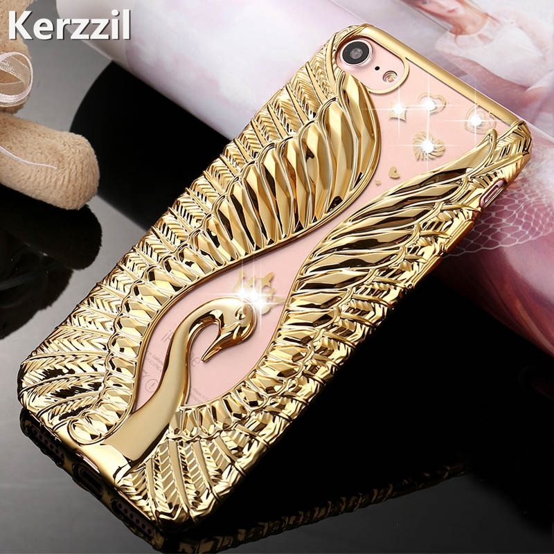 Kerzzil Bling Swan Crystal Diamond Phone Case iPhone 7 6 6S Plus Soft Rhinestones Cover Back iPhone 6 7 6S Capa Coque