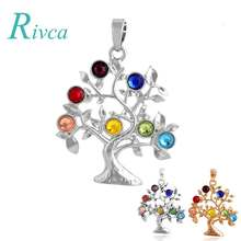 A0091 Rivca Natural Crystal 7 Chakra Stone Tree Of Life Pendant Necklace For Women Reiki Symbols Yogo Energy Pendant Amulet(China)