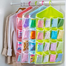16 Grid Wardrobe Hanging Organizer Underwear Bras Socks Ties Door Hanging Bag Shoe Rack Storage Bag Saving Space Tidy Organizer