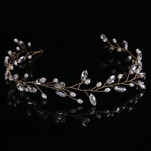 Shiny Crystal Glass Tiara Hairwear simulated Pearl Luxury Jewelry Women Accessories Bright Wedding Hair Headwear FD059(China)