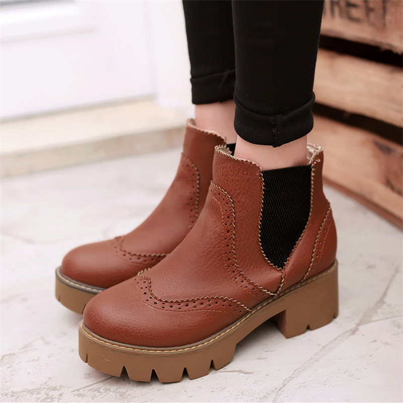 Size 34-43 Winter Ankle boots Sexy Women Boots Fashion Platform punk high square heels Snow boots Female Round Toe Martin Boots<br><br>Aliexpress