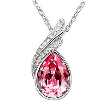 2015 New Fashion Crystal Necklaces Pendants silver color Jewerly Necklace Women Cheap Fashion ebay Jewelry Wholesale(China)