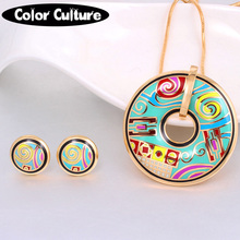 Vintage Jewelry Sets Colorful Gold-color Classic Enamel Jewelry Set for Women indian jewelry Round Pendant Earring(China)