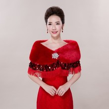 2016 Hot Selling High Quality Elegant Red Fall Winter Wedding Shawls with Diamonds Handmade Wedding Accessory One Size Fit All