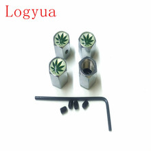 Car  Styling Anti-theft Green Maple Leaf Logo Car Badge Wheel Tire Valve Cap Tyre Dust Caps For Car 40pcs = 10 sets