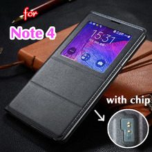 Asuwish Smart View Flip Cover Leather Case For Samsung Galaxy Note 4 Note4 N910 N910F N910H Phone Case Cover With Original Chip