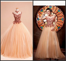 2016 Hot Wonderful Beaded Portrait Ball Gown Bling Bling Quinceanera Dress Inexpensive Appliques Prom Pageant Dresses