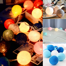 Multicolor 4M Battery Powered Warm White Led Cotton ball String Light Fairy Light for Indoor Christmas Tree Decorations AC 220V(China)