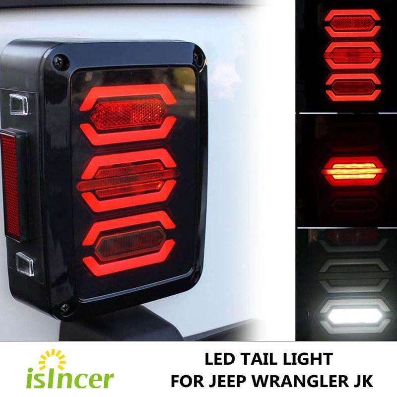 USA Edition Reverser Brake Turn Signal LED Rear Tail Light For Jeep Wrangler LED Tail Light With Brake Turning Reverse Light<br>