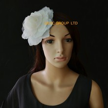 2017 NEW 12 Ivory cream 15cm silk flower hair accessory for fascinator sinamay hat.with brooch pin hair clip.(China)
