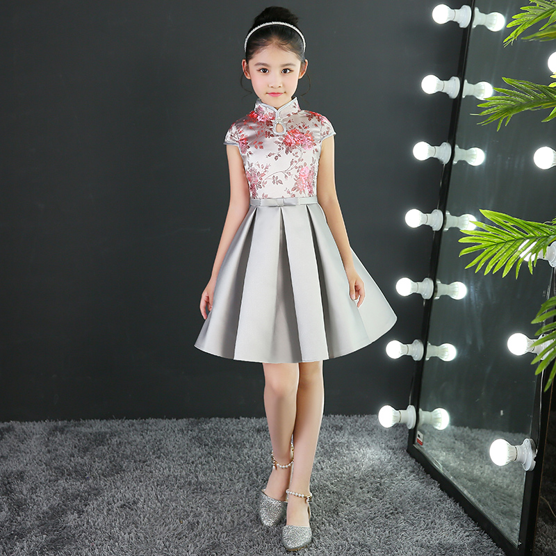 2017 autumn girls silver embroidery flower chinese qipao dresses kids formal princess wedding party birthday party ball dresses<br>