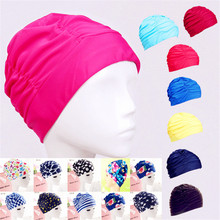 Swimming Cap Water Turban Pleated Swimming Cap Large XL Women's Hot Spring Hair Swimming Cap Male and Female Universal(China)