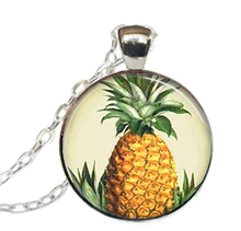 2017 New Round Pineapple Necklace Tropical Island Fruit Pendants Jewelry Art Glass Dome Pendant Necklaces Zinc Alloy ChainHZ1(China)