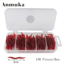Anmuka Hot Sale 150Pcs 4cm Simulation Earthworm Red Worms Artificial Fishing Lure With Fishing Tackle Box