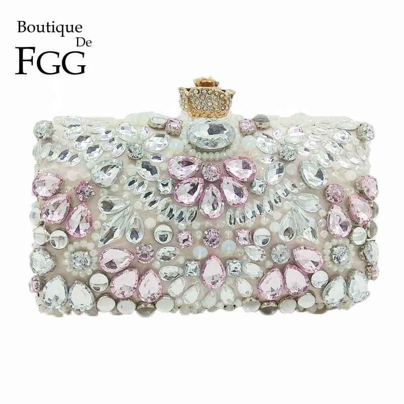 Boutique De FGG Clear &amp; Pink Crystal Rhinestones Women Evening Bags Wedding Dress Bridal Beaded Handbag Purse Flower Prom Clutch<br>