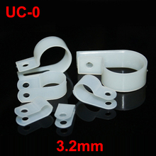 "200pcs UC-0 3.2mm 1/8"" White Plastic Nylon Wire Hose Tube Fansten R-Type Fixed Cable Tie Mount Organizer Holder R Clip Clamp"