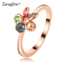 Delicate Small Ring   Rose Gold Color Colorful Genuine SWA Element Austrian Crystal Rings Ri-HQ1127
