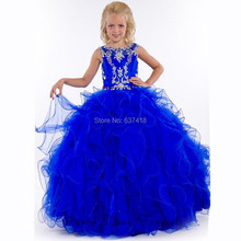 Junior Little Girl Pageant Gowns Royal Blue Flower Girl Dress Girls Pageant Dresses with Crystals and Sequins Child Prom Evening