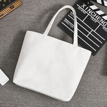 Wholesale Blank Women's Casual Tote bag Durable Canvas Shoulder Bag White Black Color Shopping Bags  Plain Handbag